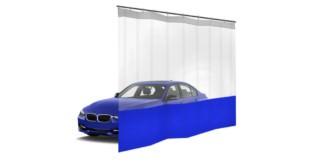 Шторы ПВХ для автомойки с окном, цвет синий 1м³